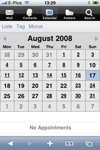 iPhone Screenshot Kalender Webclient